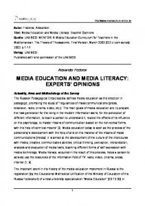 MEDIA EDUCATION AND MEDIA LITERACY: EXPERTS' OPINIONS