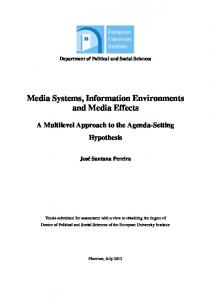 Media Systems, Information Environments and Media ...