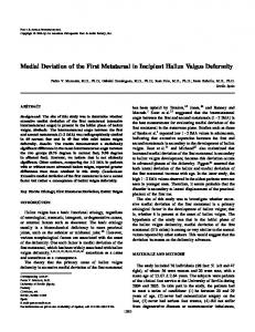 Medial Deviation of the First Metatarsal in Incipient Hallux Valgus ...