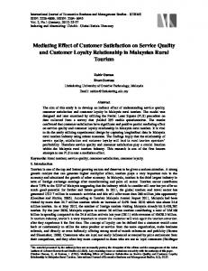 Mediating Effect of Customer Satisfaction on Service