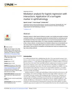 Mediation analysis for logistic regression with interactions - PLOS
