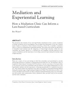 Mediation and Experiential Learning - Northumbria Journals