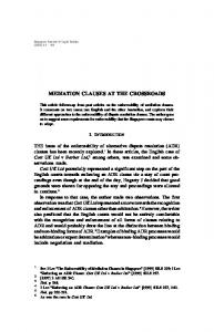 mediation clauses at the crossroads - SSRN papers