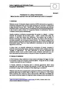 Mediation in Labour Relations: