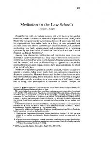 Mediation in the Law Schools - SSRN papers