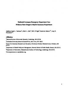 Medicaid Increases Emergency Department Use ... - DSpace@MIT