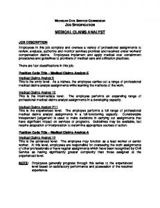 MEDICAL CLAIMS ANALYST