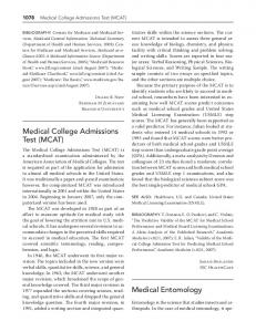 Medical College admissions Test (MCaT) Medical ...