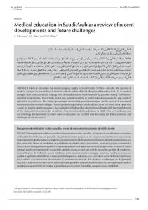 Medical education in Saudi Arabia: a review of recent developments