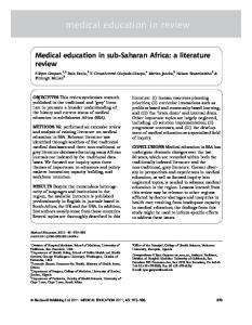 Medical education in subSaharan Africa - UCSF Division of Hospital ...