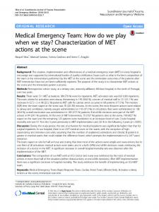 Medical Emergency Team: How do we play when we stay ...
