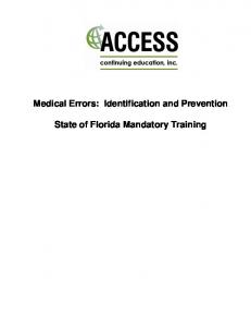 Medical Errors: Identification and Prevention State of Florida ...