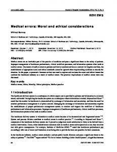 Medical errors: Moral and ethical considerations - Sciedu Press