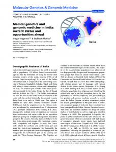 Medical genetics and genomic medicine in India - Wiley Online Library