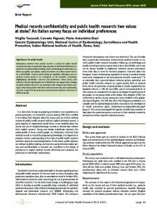 Medical records confidentiality and public health ... - Semantic Scholar