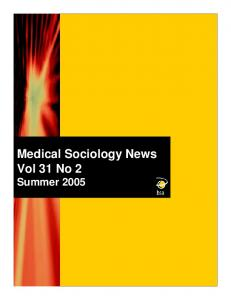 Medical Sociology News Vol 31 No 2