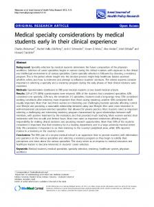 Medical specialty considerations by medical students ... - BioMedSearch
