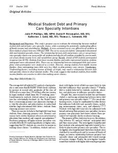 Medical Student Debt and Primary Care Specialty Intentions - STFM