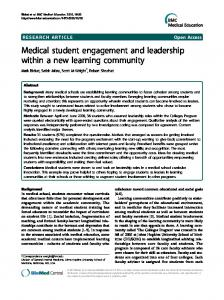 Medical student engagement and leadership within a new learning ...