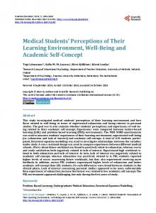 Medical Students' Perceptions of Their Learning Environment, Well ...