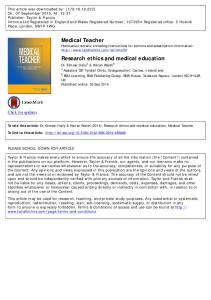 Medical Teacher Research ethics and medical education