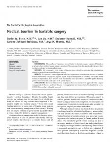 Medical tourism in bariatric surgery - Alberta Health Services