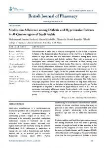 Medication adherence among diabetic and hypertensive patients in Al ...