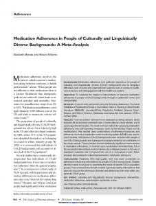 Medication Adherence in People of Culturally and