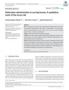 Medication administration in nursing homes: A ... - Wiley Online Library
