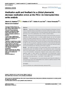 Medication audit and feedback by a clinical ... - Wiley Online Library