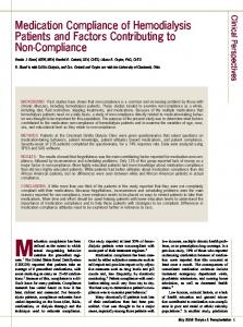 Medication Compliance of Hemodialysis ... - Wiley Online Library