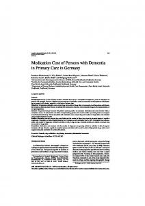 Medication Cost of Persons with Dementia in Primary ... - CiteSeerX
