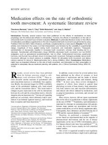 Medication effects on the rate of orthodontic tooth movement: A ...