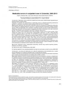 Medication errors in outpatient care in Colombia ... - SciELO Colombia