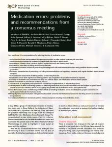 Medication errors: problems and ... - Wiley Online Library