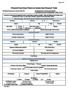 Medication Prior Authorization Form