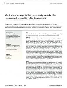 Medication reviews in the community: results of ... - Wiley Online Library