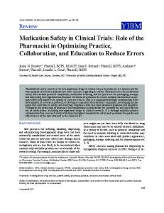 Medication Safety in Clinical Trials: Role of the Pharmacist in ...