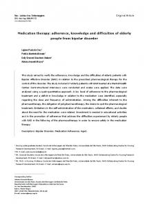 Medication therapy: adherence, knowledge and