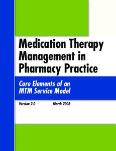 Medication Therapy Management in Pharmacy Practice: Core
