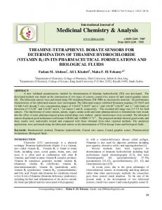Medicinal Chemistry & Analysis