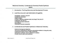 Medicinal Chemistry: Combinatorial Chemistry-Parallel Synthesis 1 ...