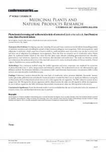 Medicinal Plants and Natural Products Research