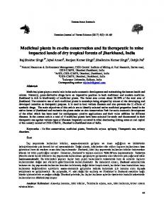 Medicinal plants in ex-situ conservation and its therapeutic ... - DergiPark