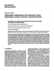 Medicolegal Considerations with Intravenous Tissue Plasminogen ...