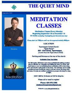 Meditation Classes - Fall Schedule - the quiet mind