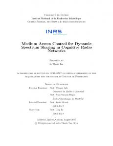 Medium Access Control for Dynamic Spectrum ...