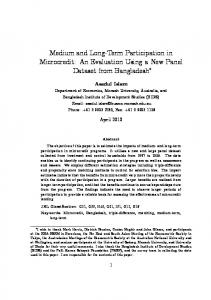 Medium and Long&Term Participation in Microcredit