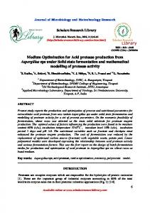 Medium Optimization for Acid protease production from Aspergillus ...