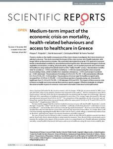 Medium-term impact of the economic crisis on mortality ... - Nature
